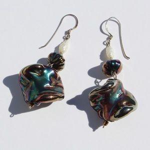 Vintage Freshwater Pearl Metallic Peacock Earrings